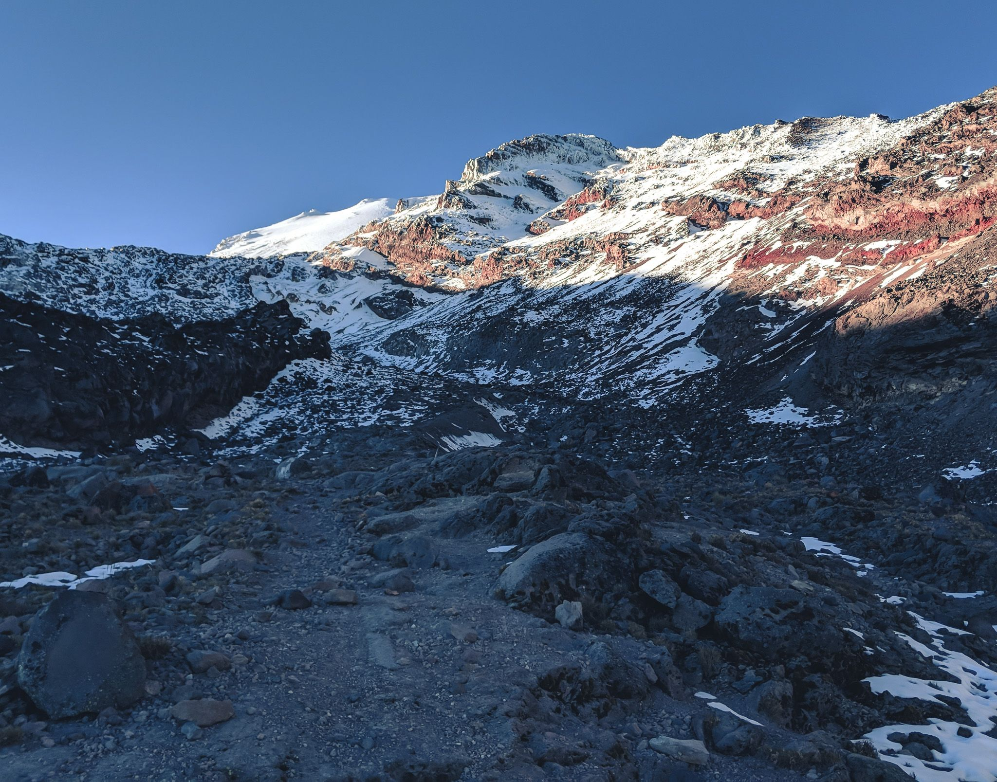 Looking up at the Labyrinth and Glacier on Pico de Orizaba