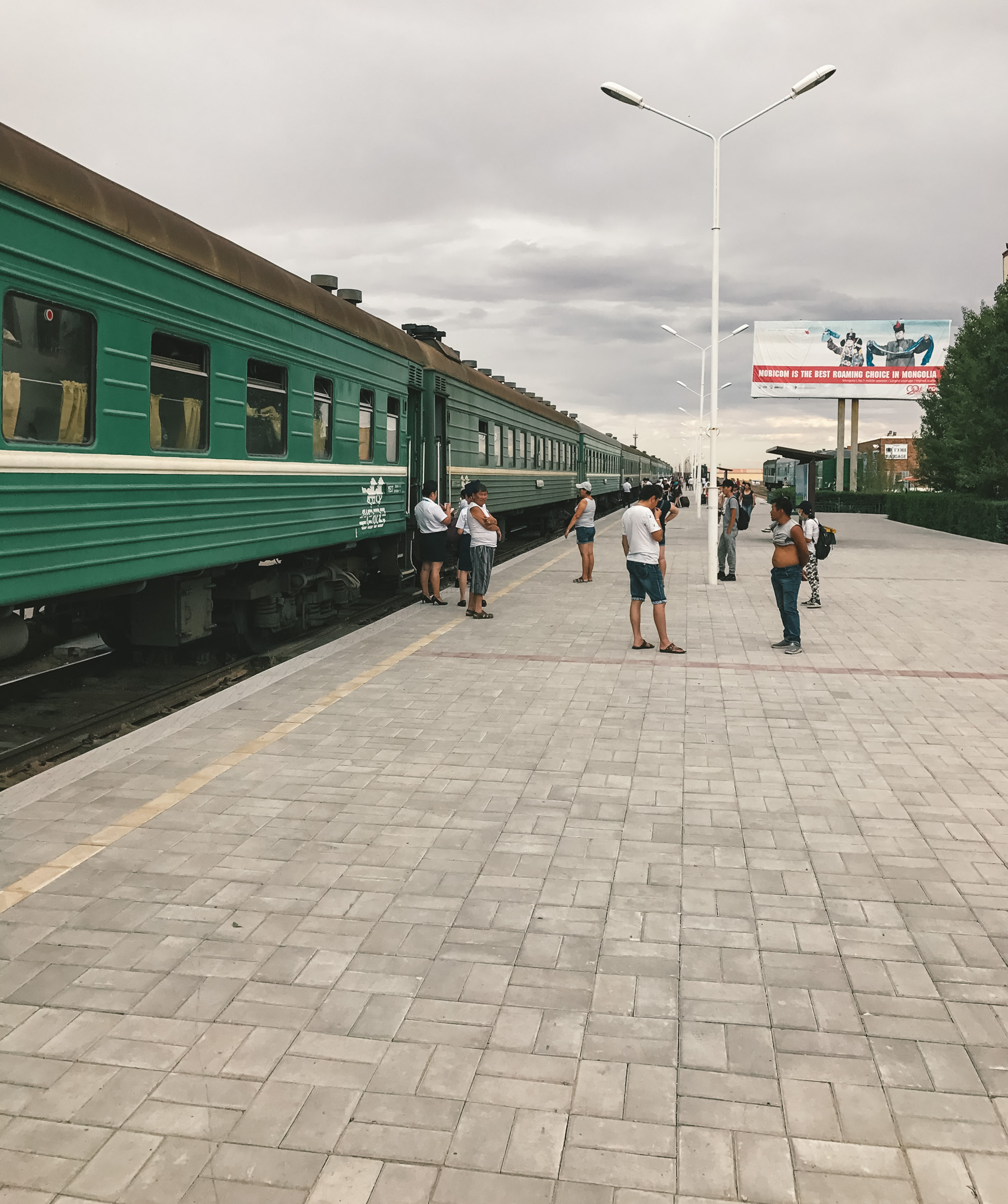 Boarding the train for Ulaanbaatar