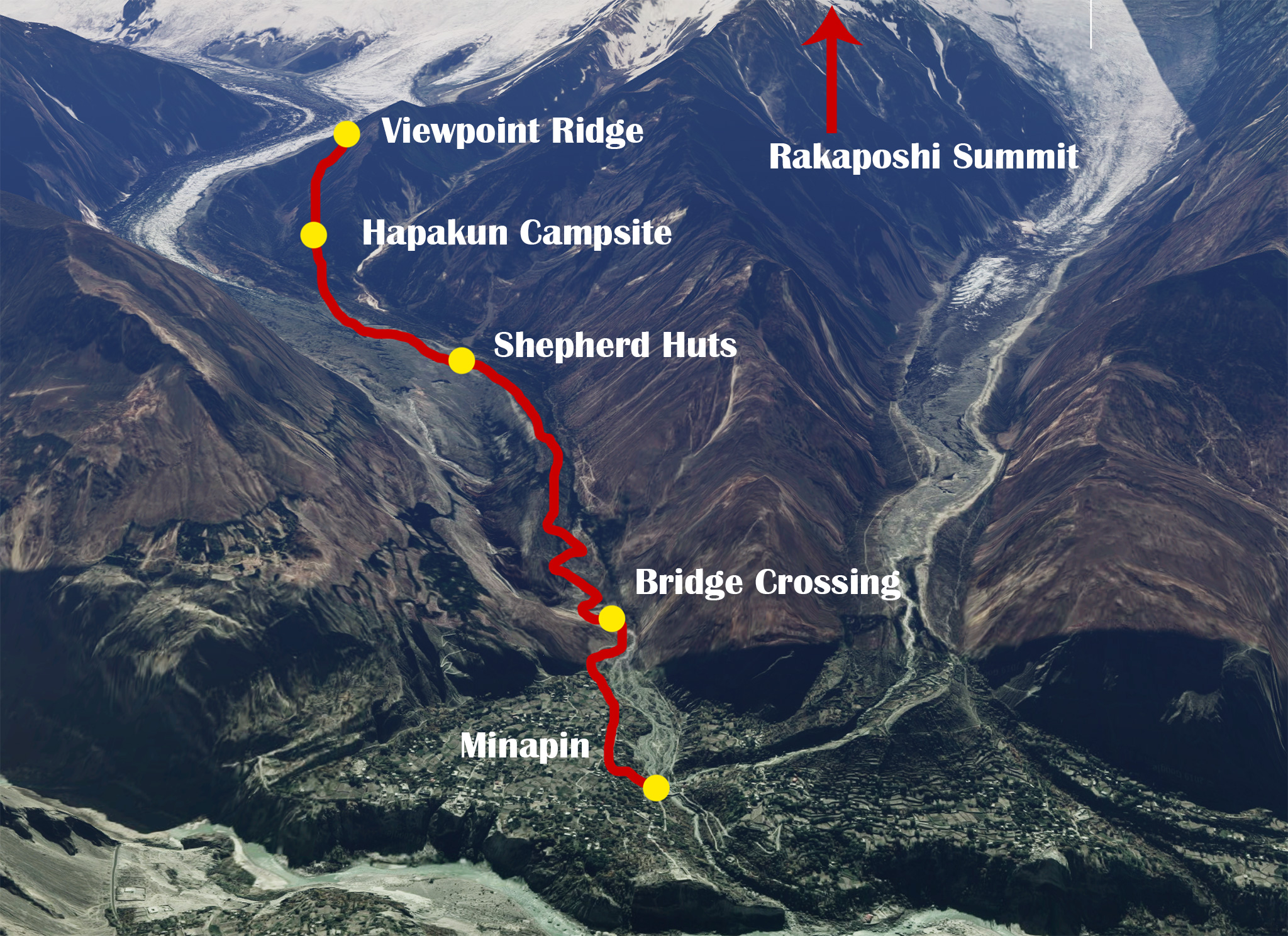Rakaposhi Base Camp Hiking Map