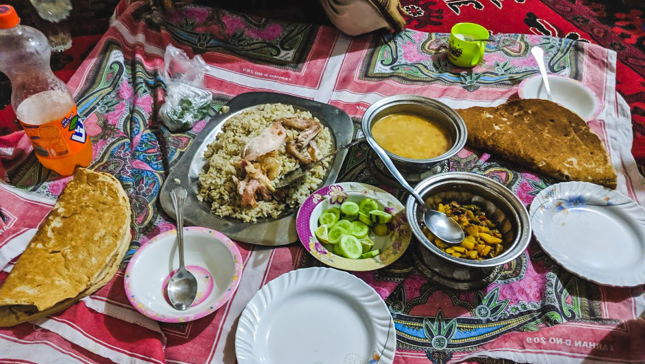 Delicious iftar meal in Mastuj, Chitral Valley