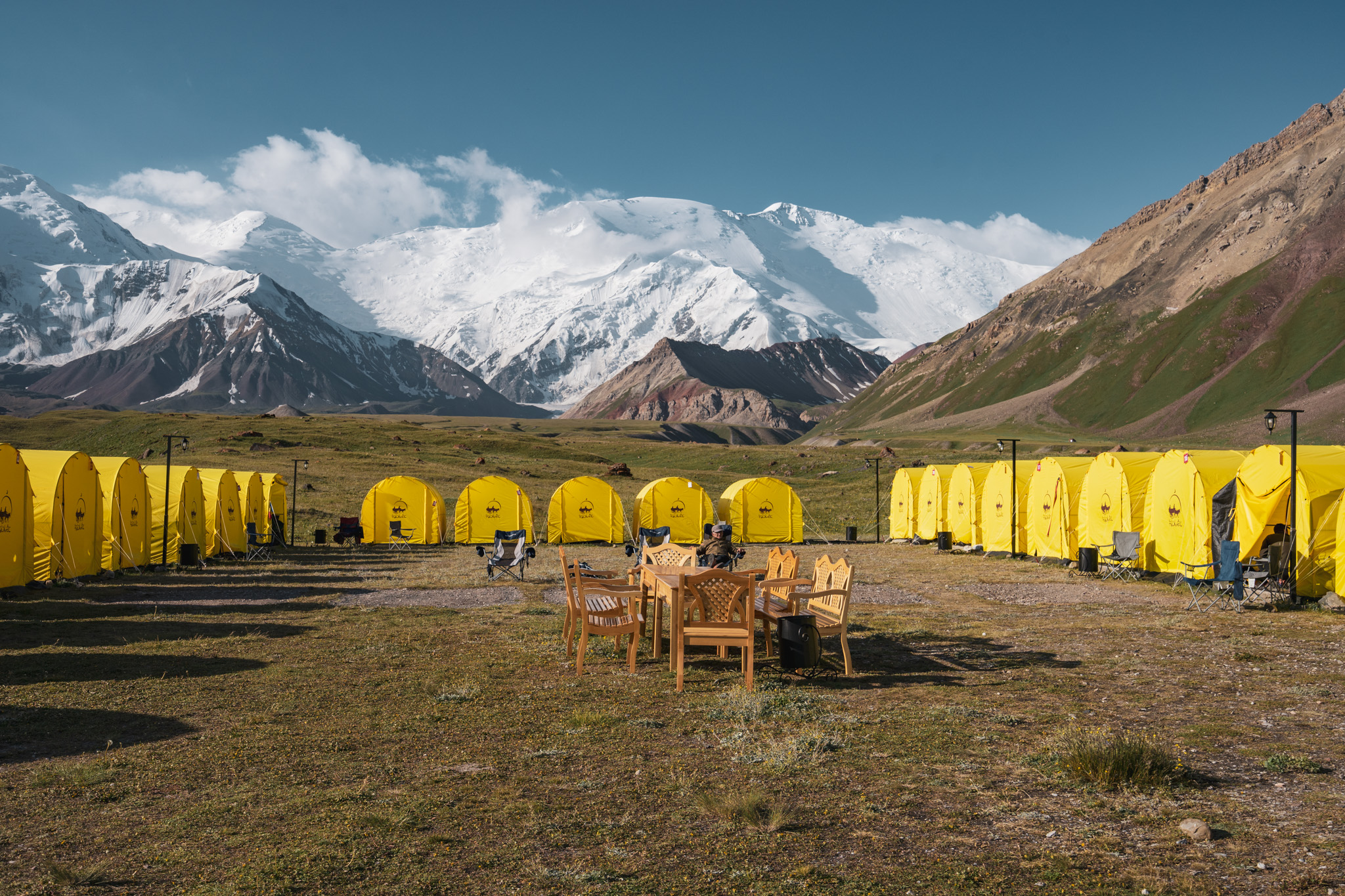 Sunny day at Lenin Peak Base Camp