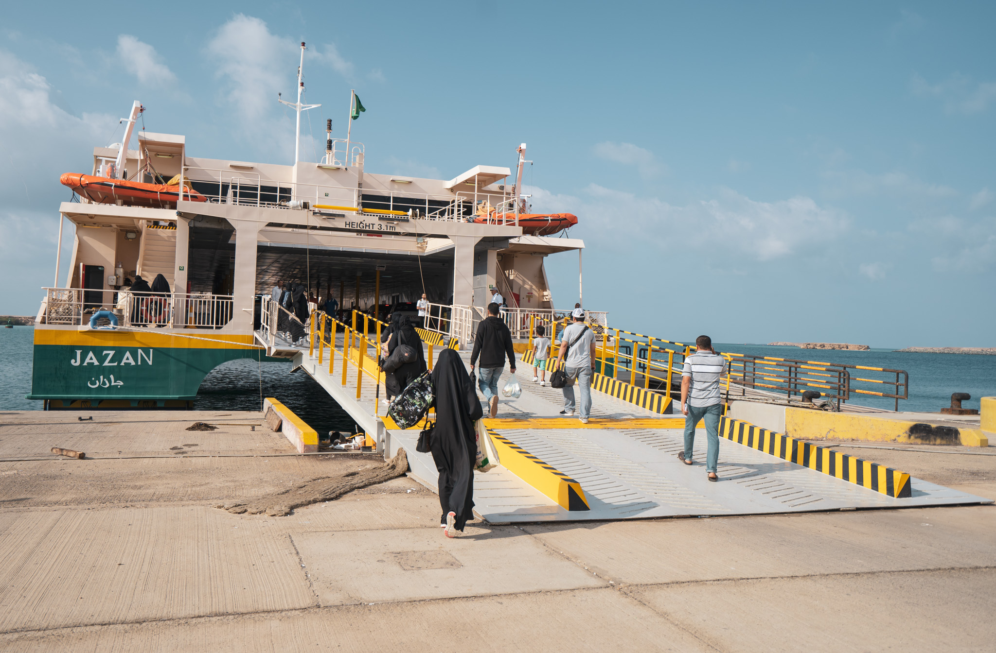 Boarding the free Farasan Islands ferry