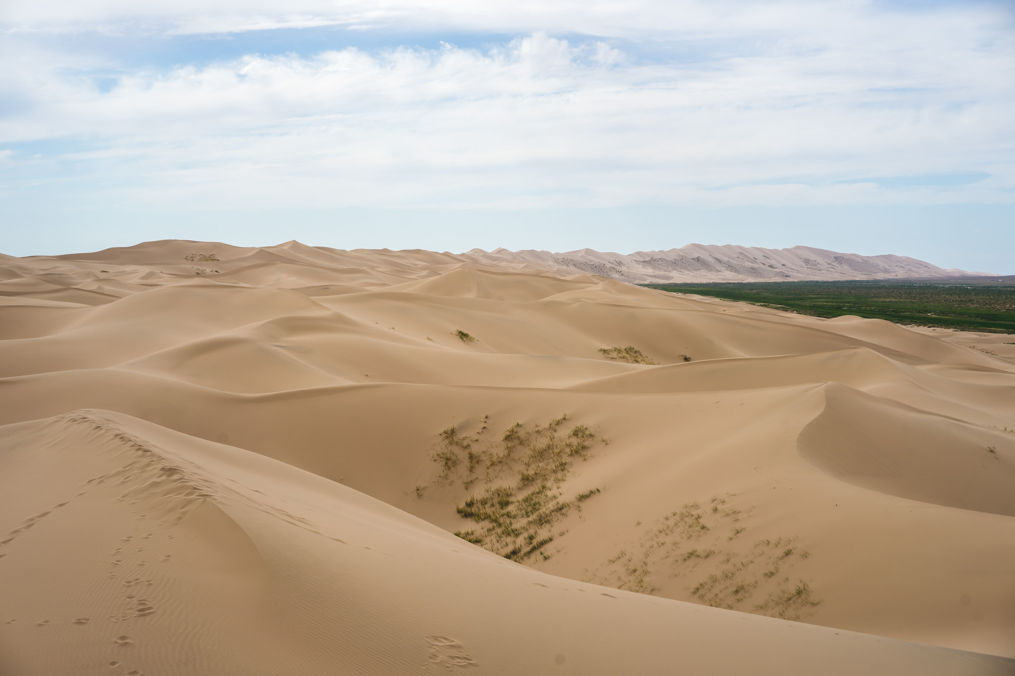 Endless sand dunes in the Gobi Desert
