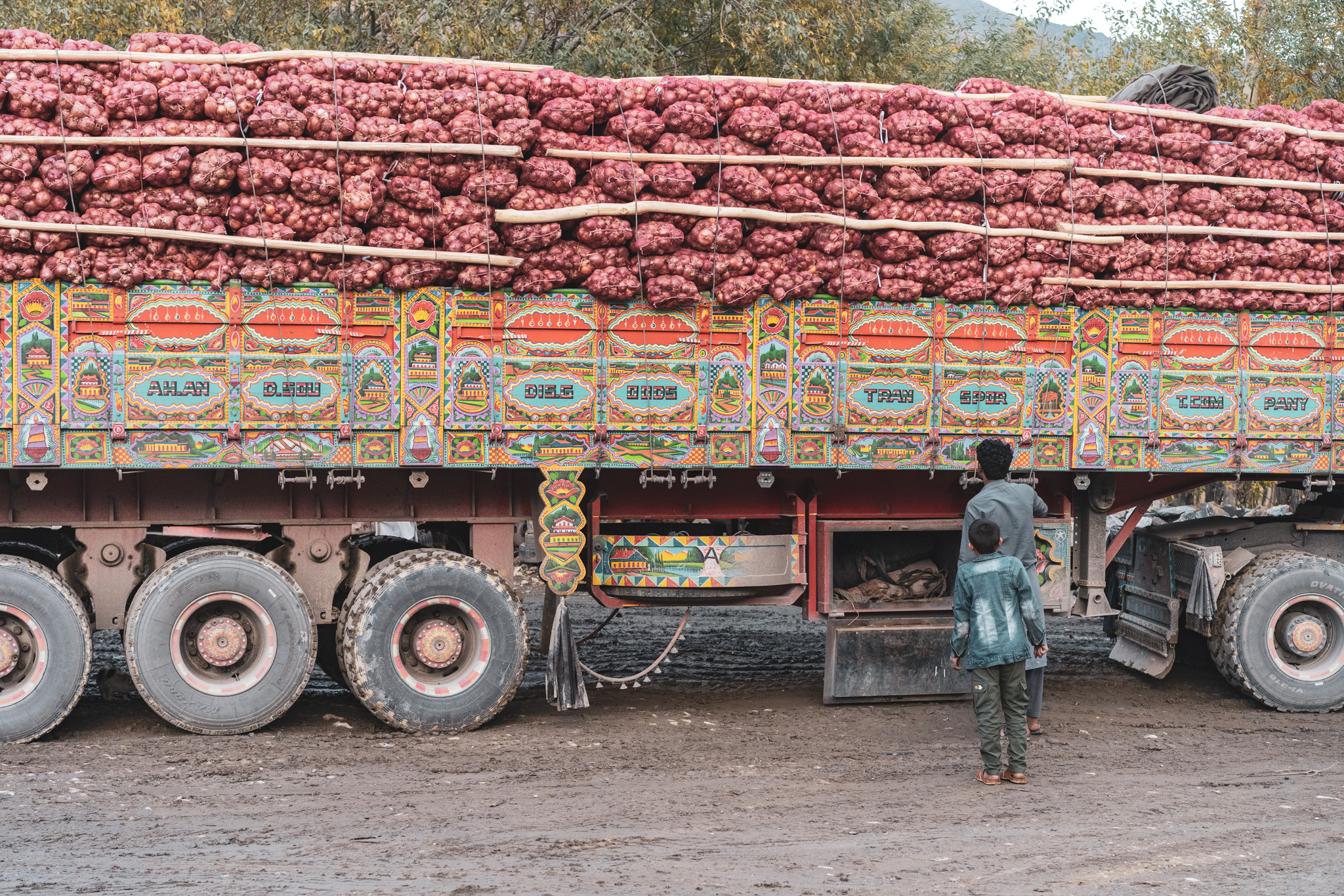 A truck loaded with pomegranates heading over Salang Pass