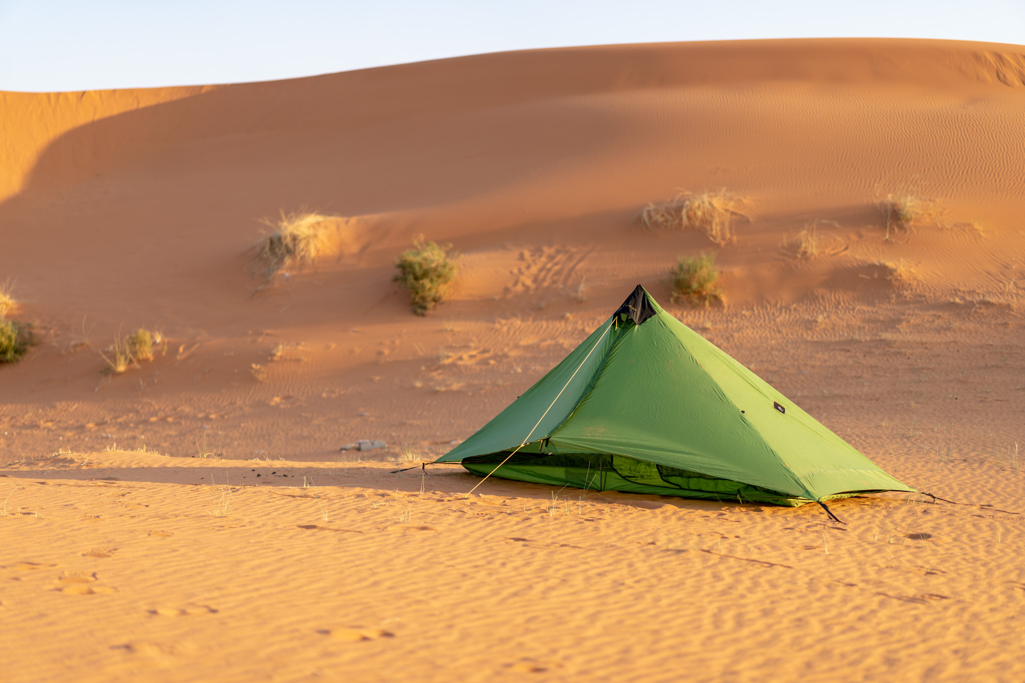 Camping in the red sand dunes near Riyadh