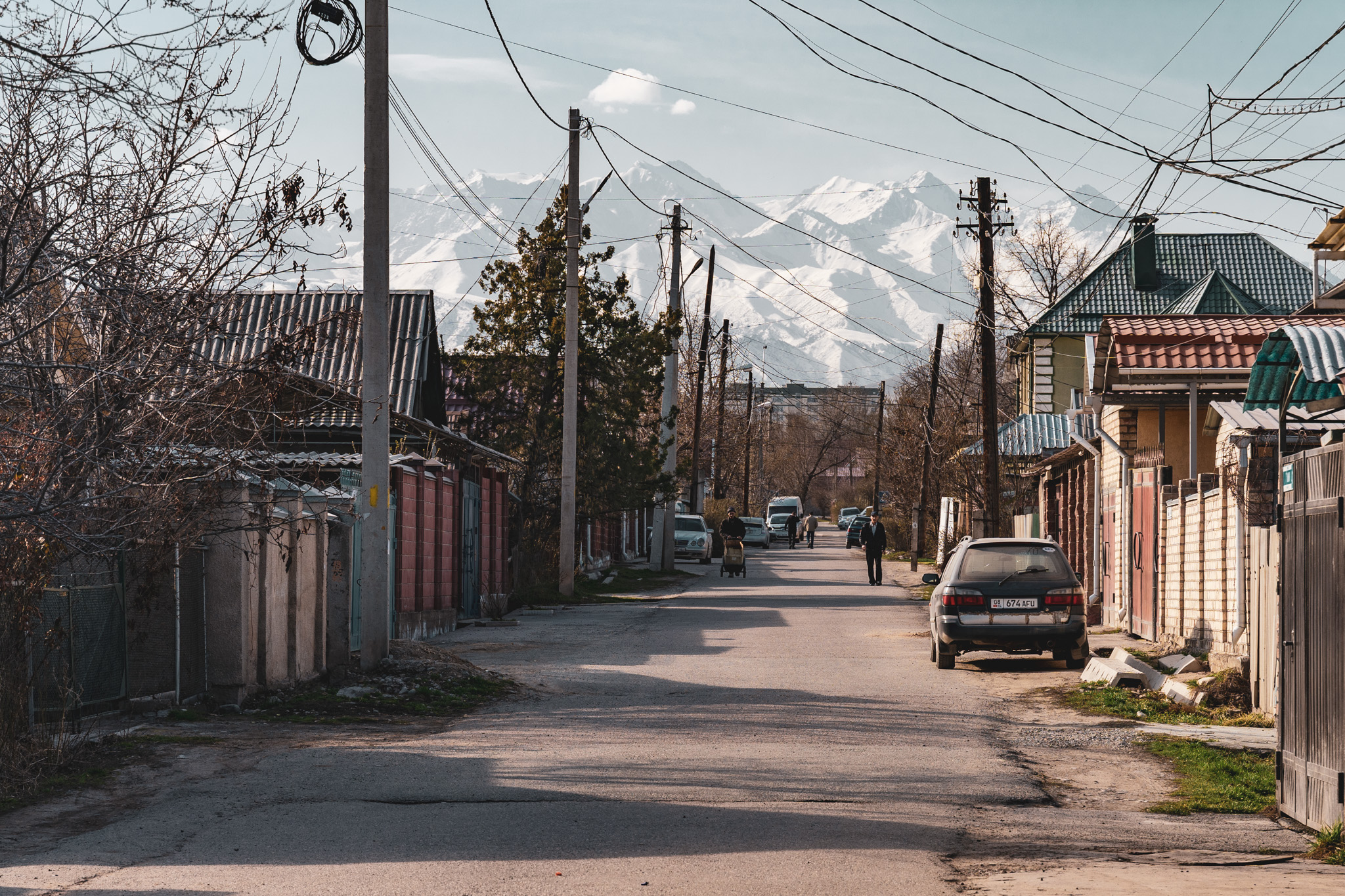 Relaxing residential streets in Bishkek