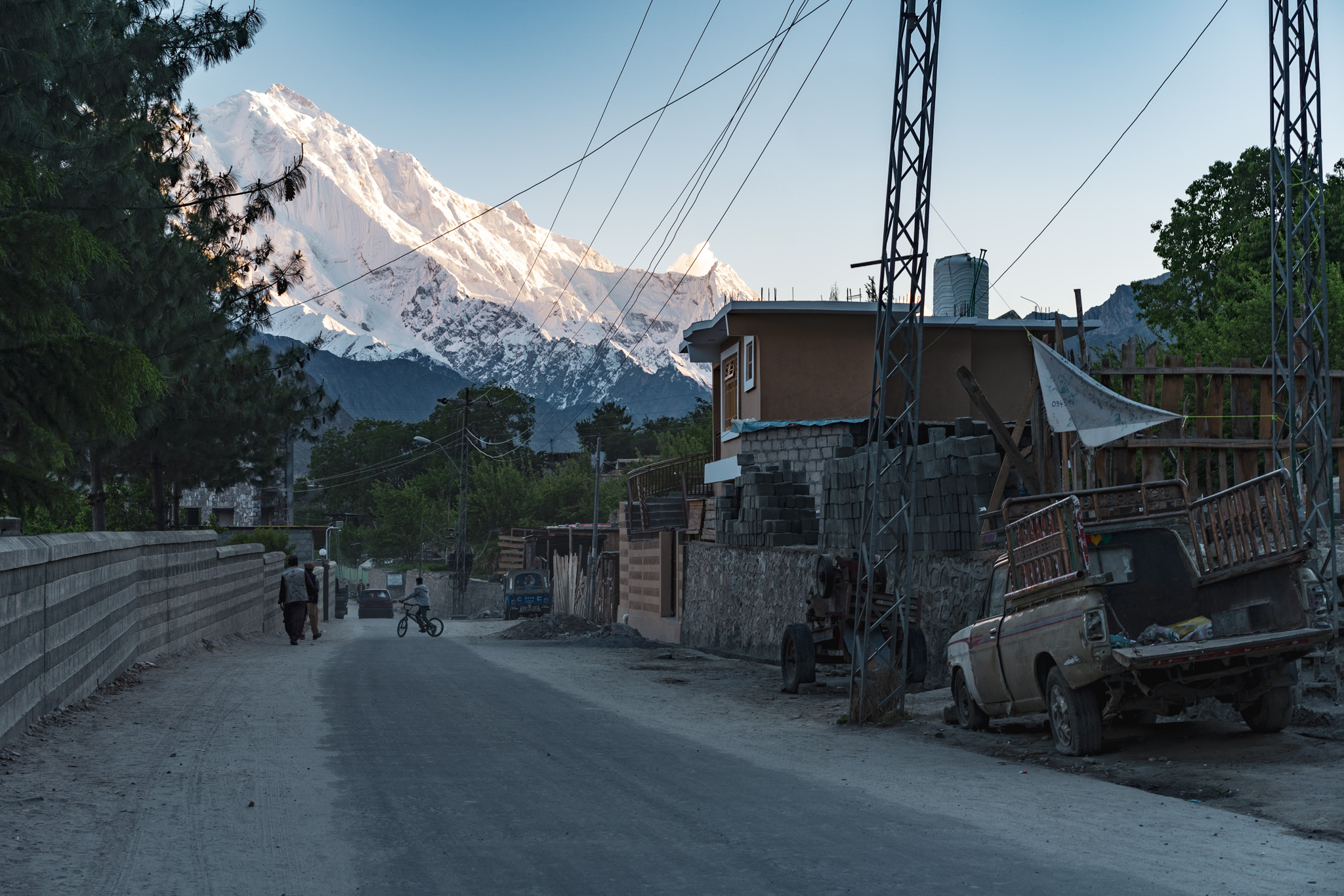 Rakaposhi towers above the streets of Karimabad