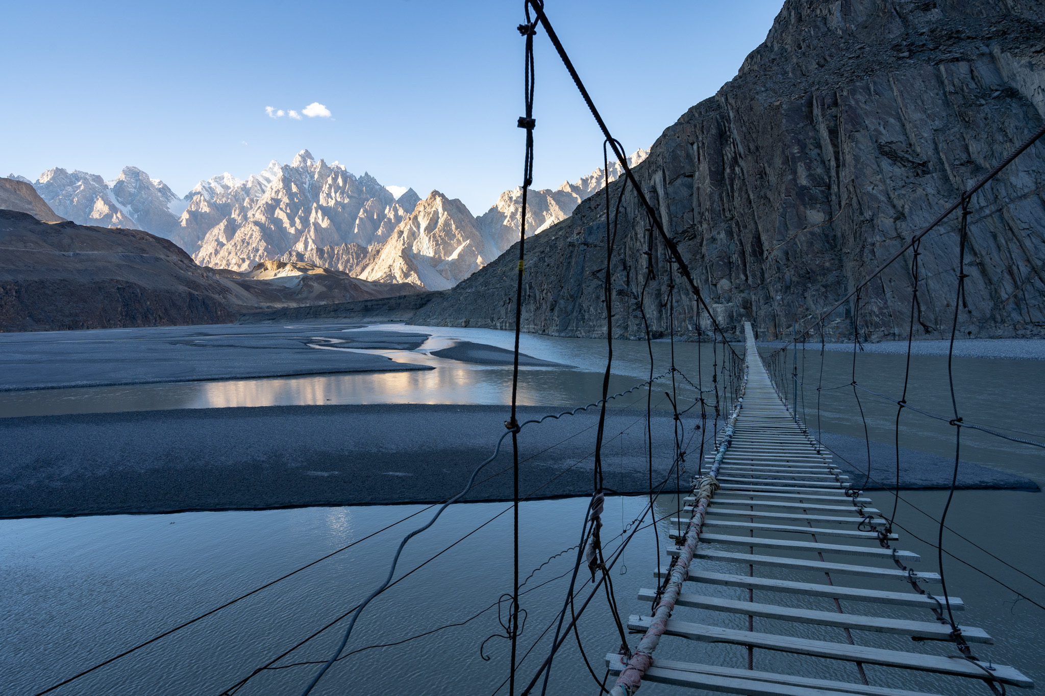 Gorgeous view of the Passu Cathedral Range from Hussaini Bridge