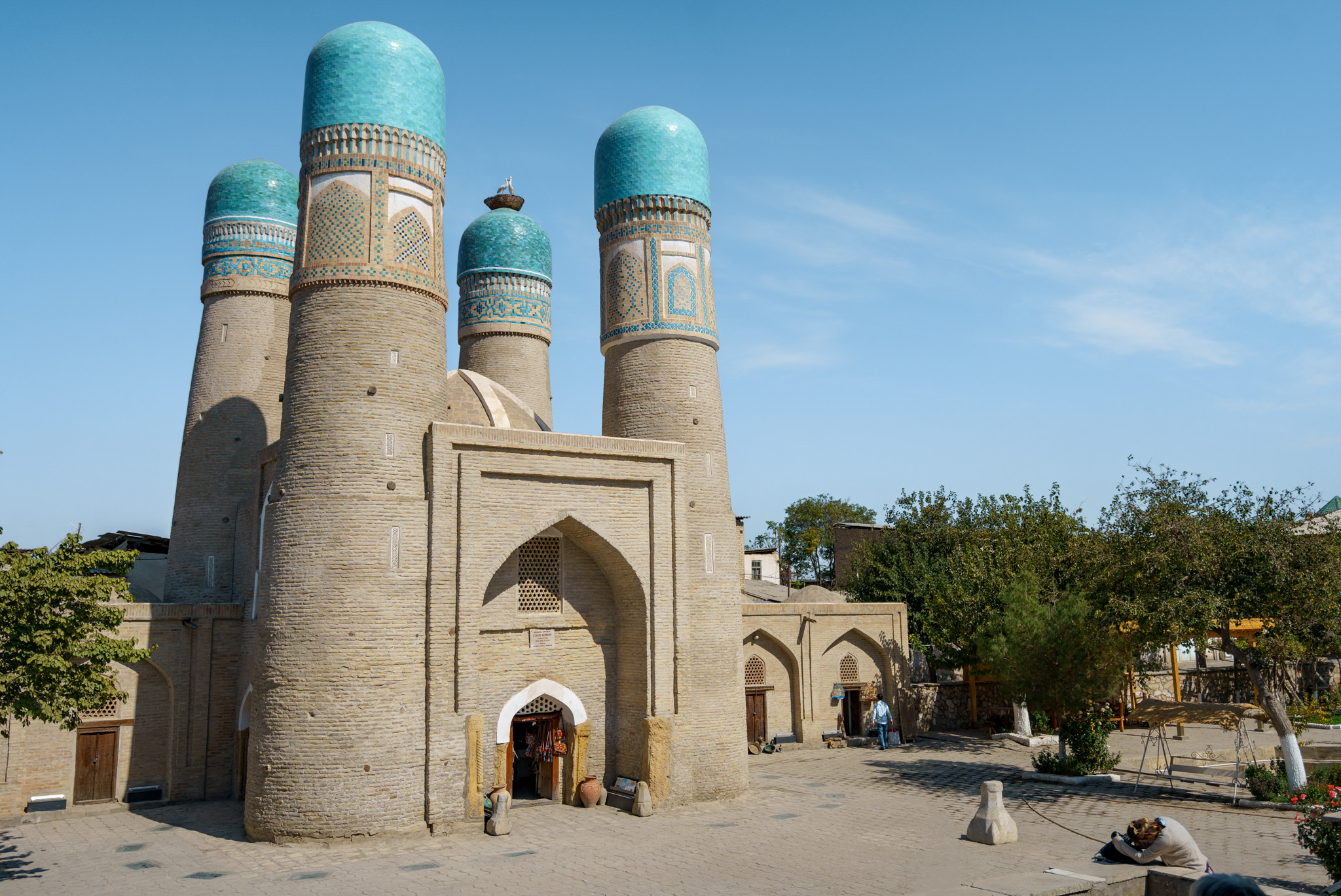 Chor Minor, a gatehouse for a now-destroyed madrasa in Bukhara