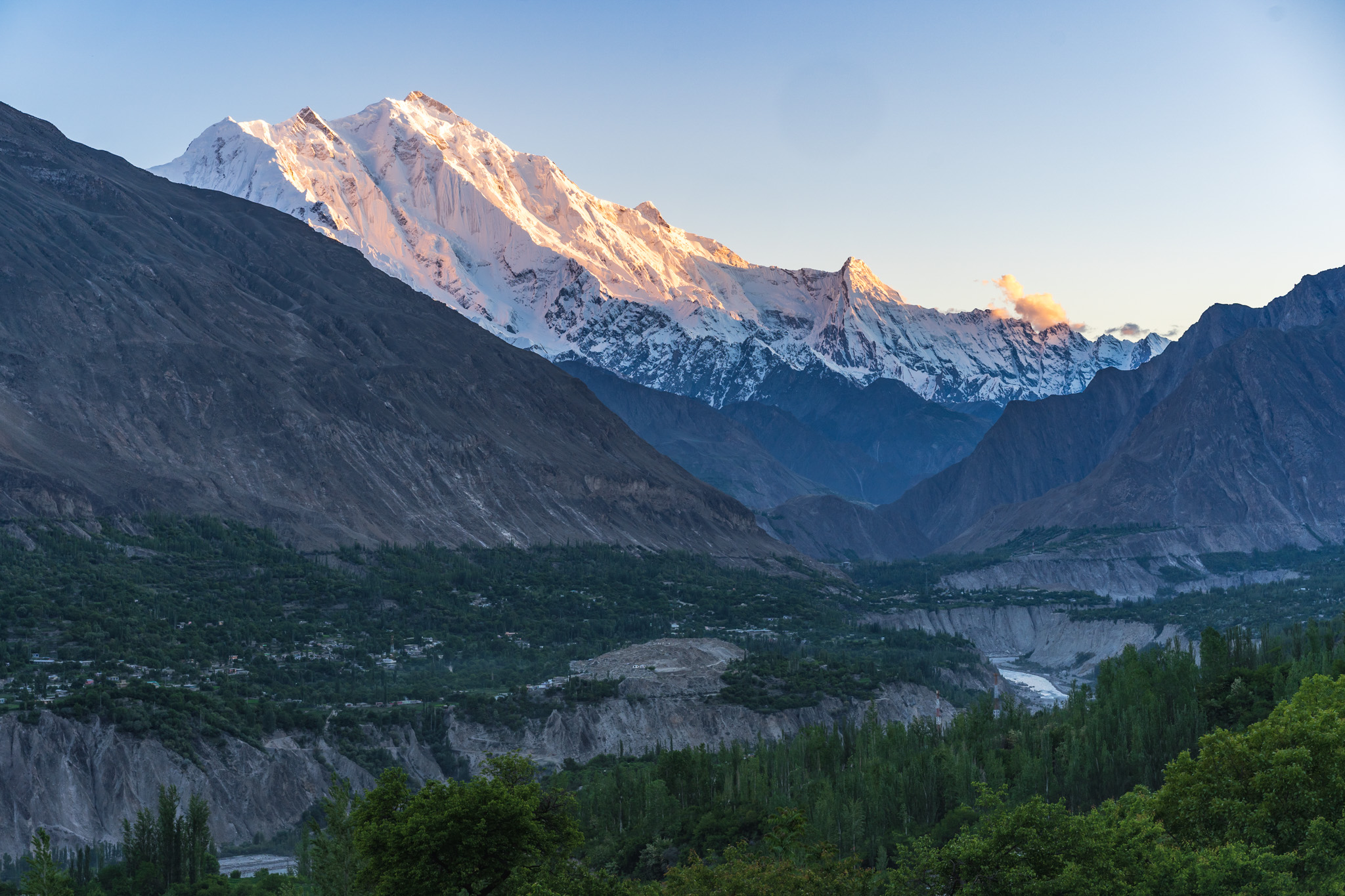 View of Rakaposhi at sunset from Karimabad, Pakistan